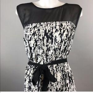 NWT Lane Bryant $75 black white sleeveless fit flare dress plus size ...