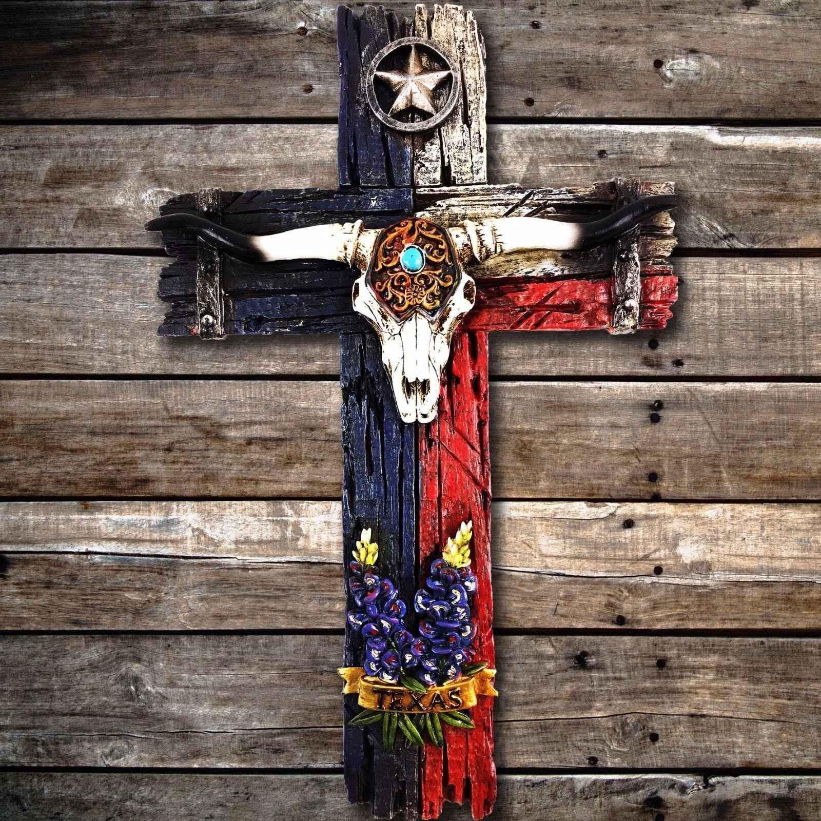 Texas Flag Turquoise Longhorn Star Bluebonnet Decorative
