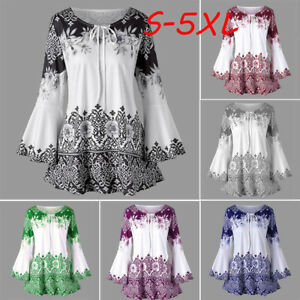 Plus-Size-Fashion-Women-Ladies-Printed-Flare-Sleeve-Tops-Blouses-Keyhole-T-Shirt