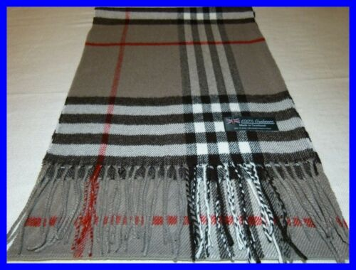 2 PLY Cashmere Scarf Soft 72X12 Gray Black Red Check Plaid Scotland Wool Men