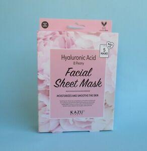 Kazu Beauty HYALURONIC ACID & PEONY Facial Sheet Mask 6 pcs NIB