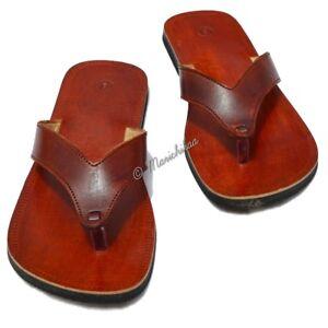 c7f6ca3f443 Men Handmade Leather Sandals Brown V Strap Slipper Indian Flip Flop ...
