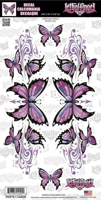 Lethal Threat GLITTER Sticker Decal PURPLE BUTTERFLY Motorbike Quad ATV LT44020