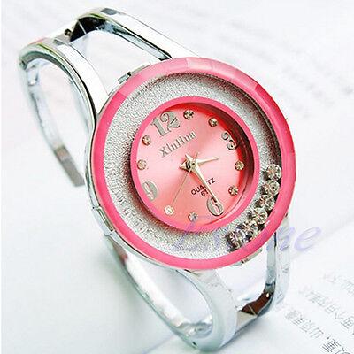 Women Rhinestone Crystal Stainless Steel Dial Bracelet Quartz Analog Wrist Watch