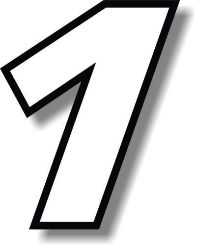 BIANCO 5 in (ca. 12.70 cm) RACE NUMERI CON BORDO NERO Numero Adesivo Vinile Decalcomania Grafica