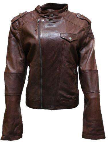 en souple brun Veste style cuir de Brando Biker femme Style aOq5aw6
