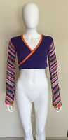 Pacha Ibiza 70s Style Purple Cropped Striped Wrap Top Xs S Funky