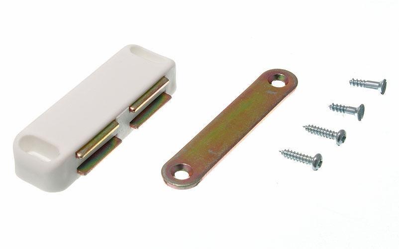 Neuf Loqueteau Magnétique Double avec Plaque et Vis de Fixation white 5KG à