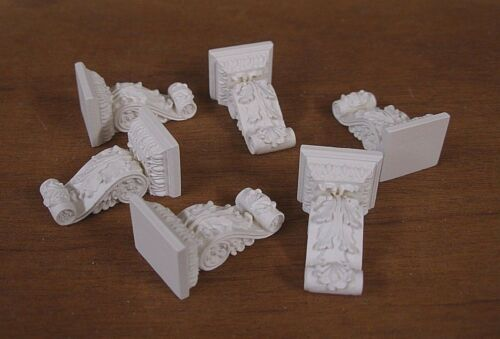 CORBELS~  1:12 scale ~Dollhouse Mini ~ White ~ Room Box 6  CARVED   BRACKETS