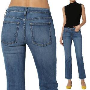 1c88609d15c TheMogan Mid Rise Crop Bootcut Jeans Slim Flare Frayed Hem Stretch ...
