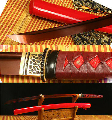 41'1095 CARBON STEEL RED BLADE HANDMADE JAPANESE SAMURAI SWORD KATANA