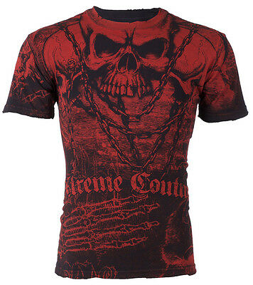 Xtreme Couture AFFLICTION Men T-Shirt KILLER Skulls Tattoo Biker MMA UFC $40 br