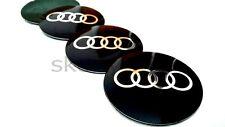 4x56mm Audi Black Alloy Wheel Center Caps Metal Badge Sticker /A3/A4/A6/A8/S4/TT