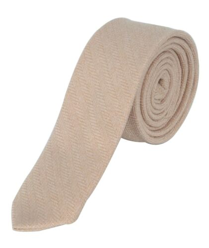 Mens Boys Kids Wedding Herringbone Tweed Beige Slim Tie /& Pocket Square Set