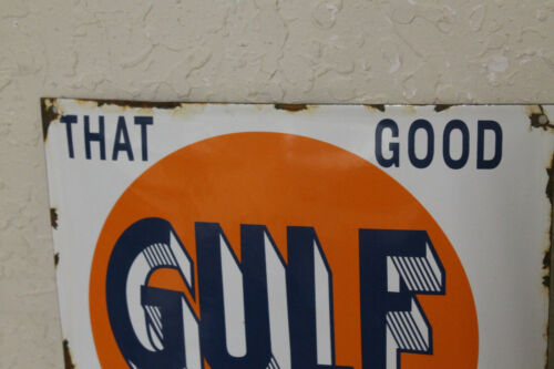 Gulf Refining Co Oil Vintage Style Porcelain Signs Gas Pump Man Cave Station
