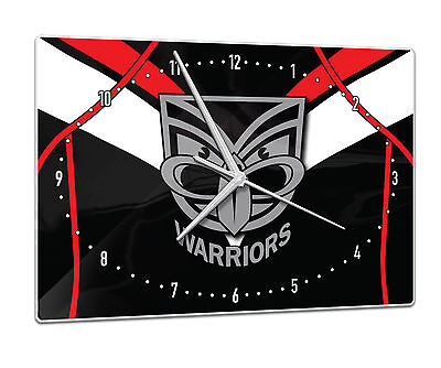Licensed NRL NZ WARRIORS Rugby League Glass Clock Pool Cue Dart Room Man Cave