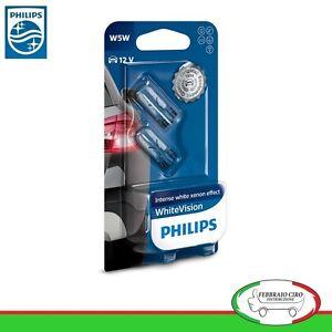 2-Lampade-Philips-T10-W5W-White-Vision-Lampadine-Luci-posizione-interno-targa