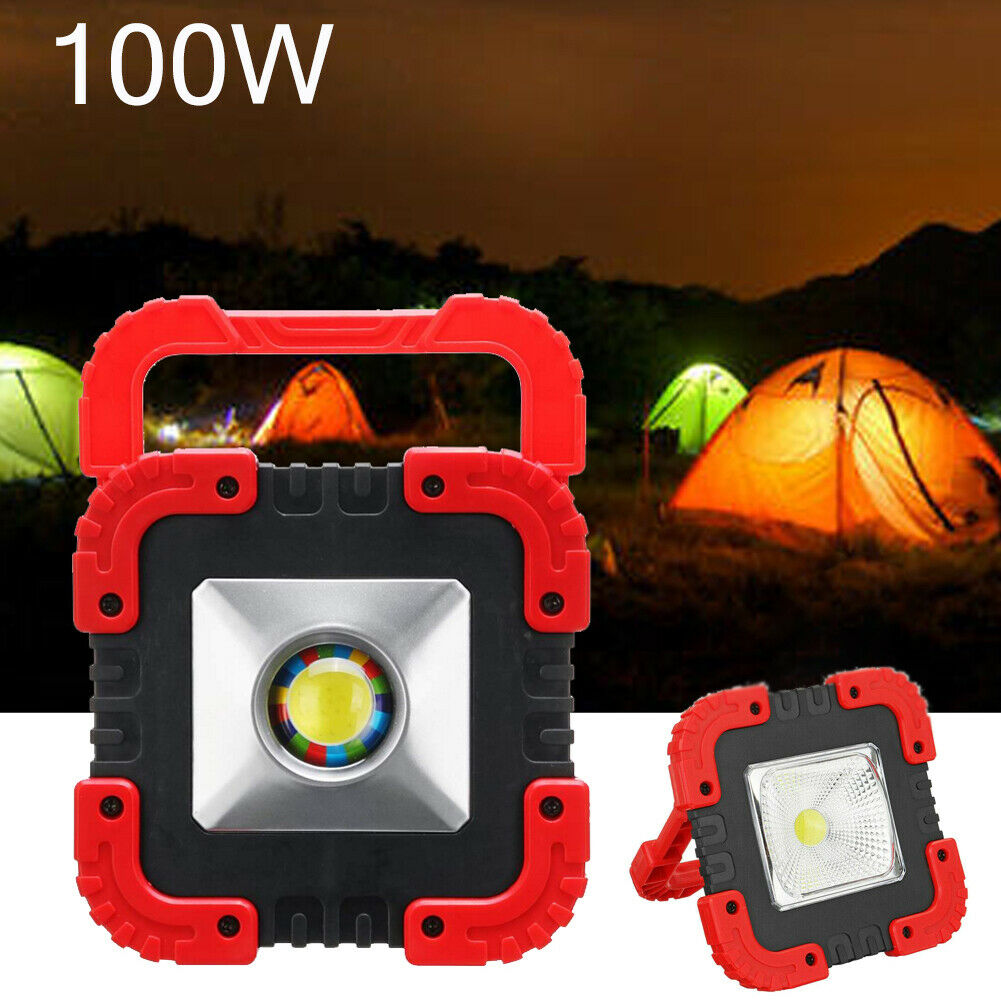 100W Solar LED Light USB Rechargeable Outdoor Camping Tent Work Torch Floodlight