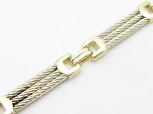 Fine Bracelets Sincere 14k Gelbgold & Weißgold Kabel Design Glieder Armband Mit Hummer Schloss 13.2