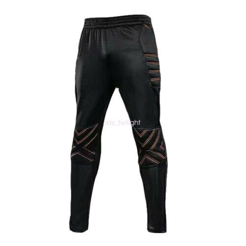 Men/'s Sport Soccer Football Goalkeeper Padded Goalie Training Long Pants Black