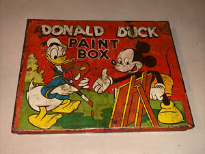 VINTAGE-DONALD-DUCK-WITH-MICKEY-MOUSE-TIN-PAINT-BOX-AUTHENTIC-1950-EMPTY-TIN