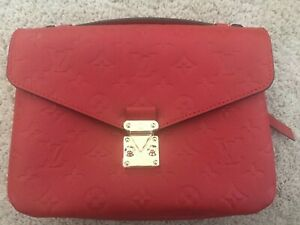 20d65223244 Image is loading Louis-Vuitton-Pochette-Metis-Empreinte-Leather-Cerise-Red-
