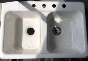 Details about NC Farmhouse ELJER Double Bowl Enameled Cast Iron Kitchen  Sink 212-1089 Dumount