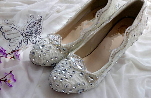 d80acffa11c0 Lace white ivory crystal Wedding shoes Bridal low high heel pump size 5  10