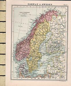 C1860 Viktorianisch Landkarte ~ Norwegen & Schweden