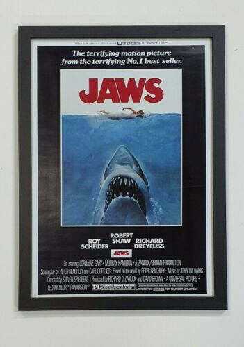 Framed A3 Jaws movie poster Real glass and ready to hang Real wood frame