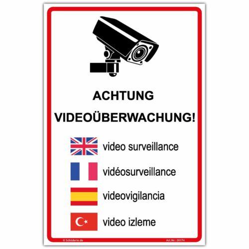 """5 sprachig/"""",Hochformat s Hinweisschild 300x200 mm  /""""Achtung Videoüberwachung"""