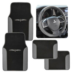 two tone black gray 4 pc car auto floor mats \u0026 sport grip steeringimage is loading two tone black gray 4 pc car auto