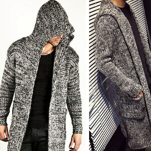 Stylish Mens Fall Loose Casual Sweater Jacket Knit Hood Pocket ...