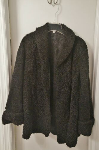Vintage black shearling coat 1930s
