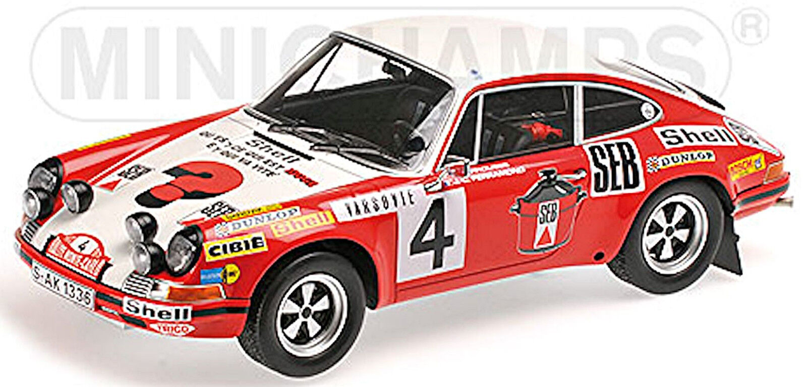 Porsche 911 s 2nd place rallye monte carlo 1972 Larousse 1 18 MINICHAMPS