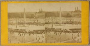 Place Da La Concorde Parigi Francia Foto Stereo PL55L1n Vintage Albumina c1865