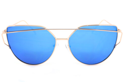 Large Oversized Cat Eye Sunglasses Flat Mirrored Lens Metal Frame Women Fashion