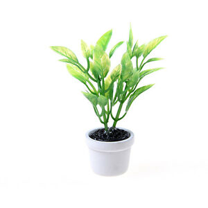 New-1-12-Green-Plant-in-white-pot-Dollhouse-Miniature-Garden-Accessory-DSUK