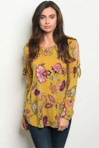 USA-Mustard-Boho-Floral-Cold-Shoulder-Long-Tie-Sleeve-Tunic-Western-Top-S