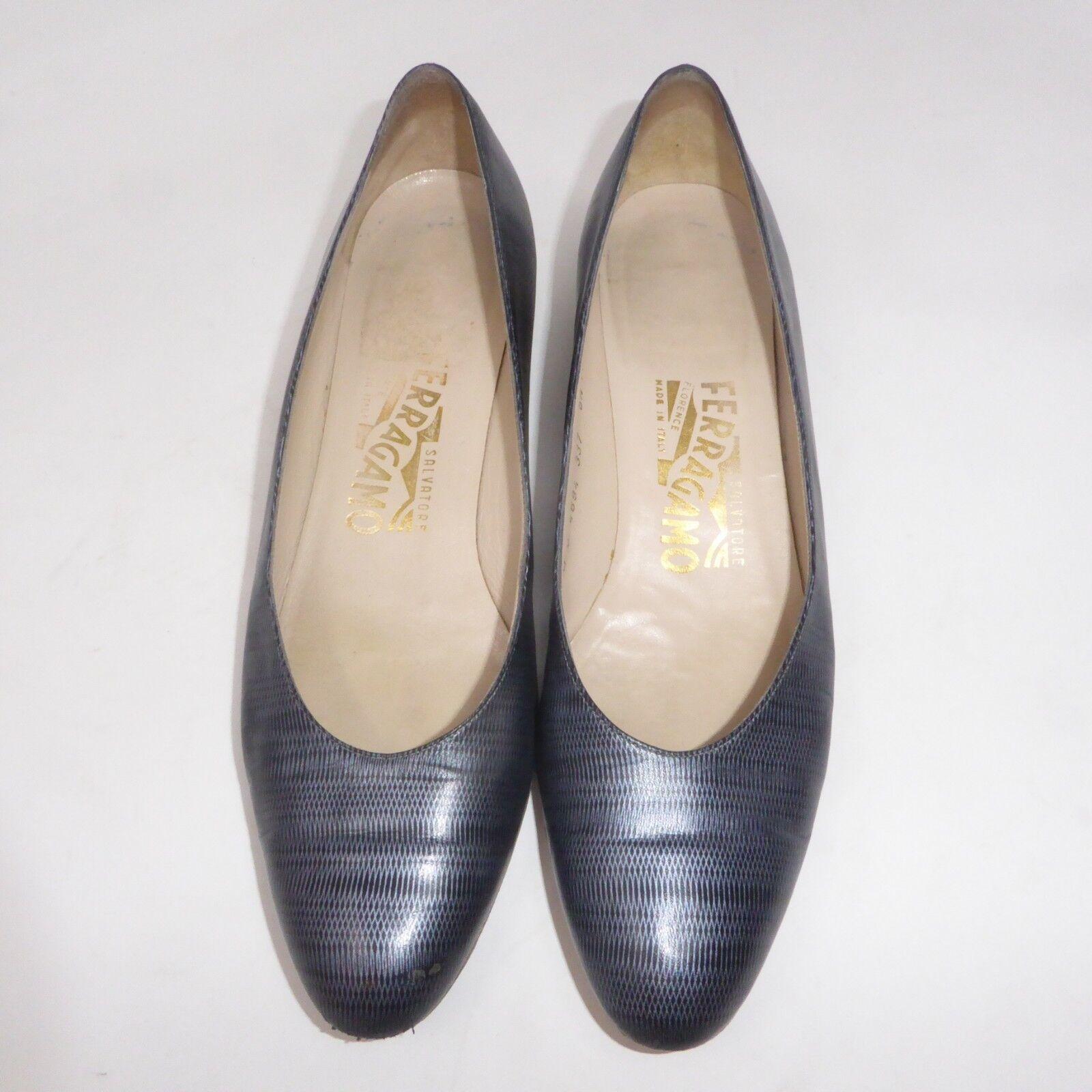 Salvatore Ferragamo Florence Sz 8.5 AA Heels Pumps bluee shoes Made  Narrow