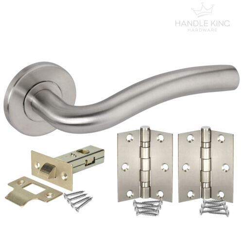 Door Handle Pack with Brushed Stainless Steel Latch /& Hinges