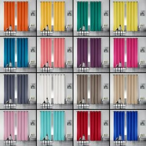 Pair-of-Essentiel-Plain-Curtains-with-Metal-Eyelets-280cm-Drop-19-Colours
