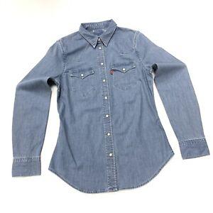 Levi-039-s-Women-039-s-Western-Denim-Shirt-dans-bleu-moyen-taille-XS