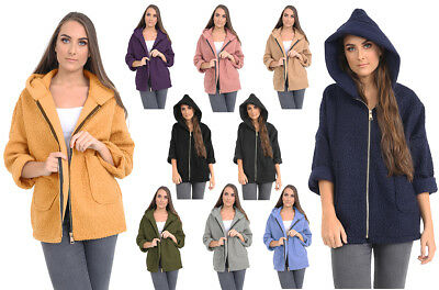 Initiative New Ladies Winter Hooded Zipper Pocket Fluffy Fleece Fur Jacket Coat Hoodies