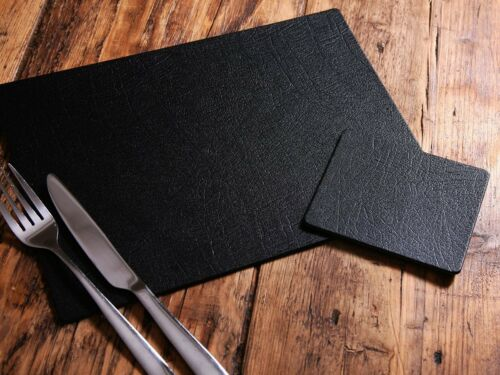 Set of 8 ARTISAN BLACK Bonded Leather PLACEMATS /& 8 COASTERS UK MADE 16-Piece