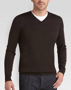 8cc0762772 Joseph Abboud Merino Wool V Neck Sweater XL Dark Brown New W  Tags ...
