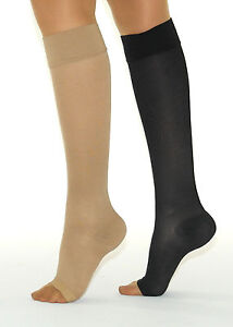Verbände & Pflaster 280den Kompressionsstrümpfe Zehen Offen Knie-strümpfe Stützstrümpfe 22-27mmhg Dauerhafte Modellierung Damenmode