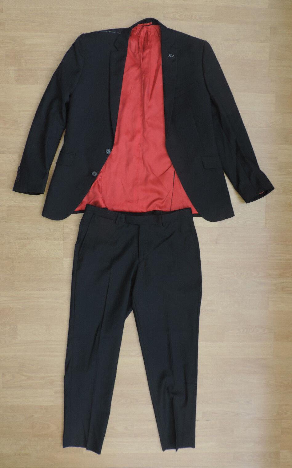Da Uomo Moss Bros su Blazer misura 2 PEZZI Blazer su Pantaloni Nero Rosso G8-B6 8e7df2