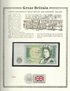 Great-Britain-1-Pound-1978-84-P-377b-UNC-w-FDI-UN-FLAG-STAMP-Prefix-AN05