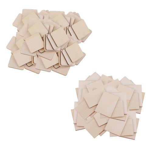 200Pcs Rectangle//Square Wooden//Bass Wood MDF Shape Plaque Unfinished Pieces